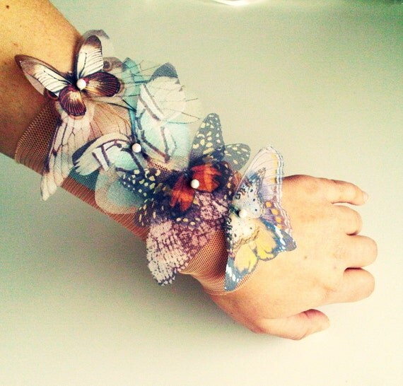 Fluttery Butterflies wide Cuff Bracelet or Anklet -Natural Colors- Made to order