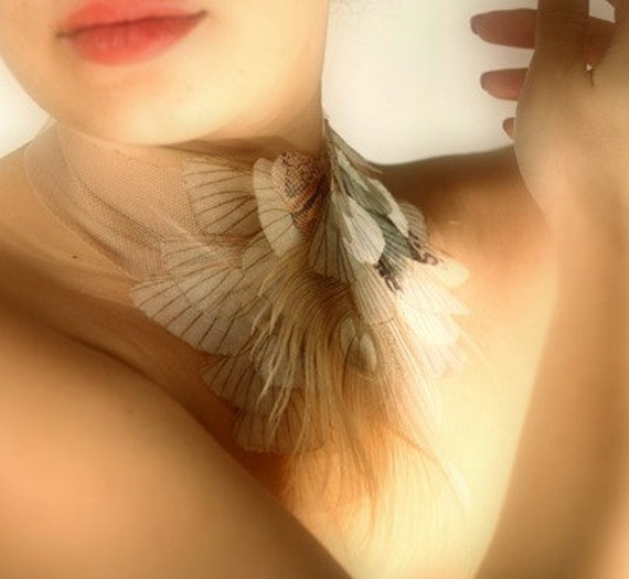 50% OFF Fluttering in Nude Necklace  Organza Moth Wings with White Peacock Feather