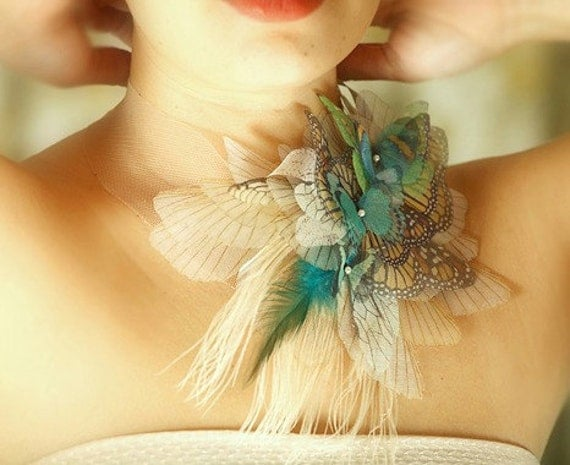 Fluttering Colors Butterfly Necklace  with Ten kinds of Organza Moths