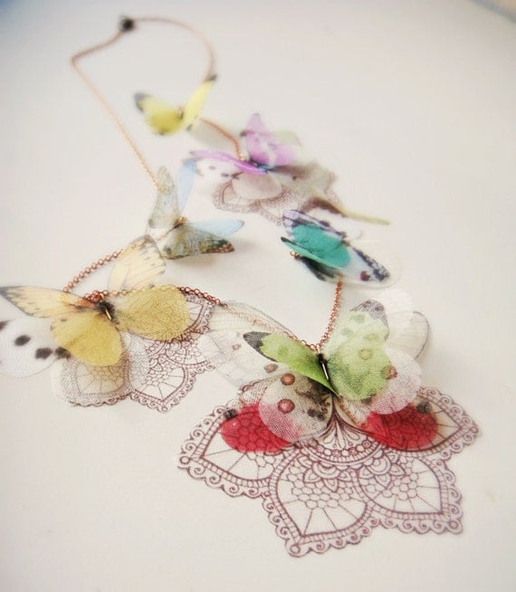 Lace Butterfly Lariat Necklace Ready to Ship and Open to custom Orders for different Colors