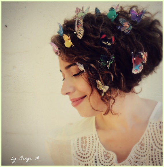 Butterfly Hair Pins Made to Order for your Color preferences SET OF THREE