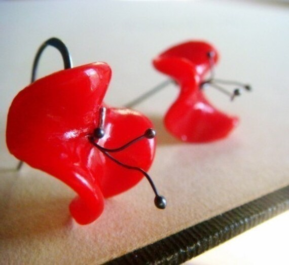 Little Ruffly Poppies...Vintage and Sterling Silver..