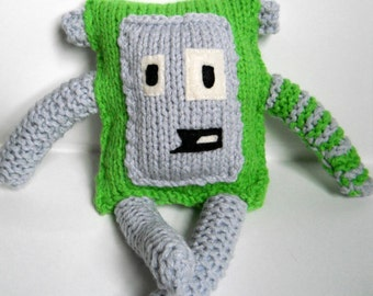 Knit Monster, Cute Green Square Softie, amigurumi