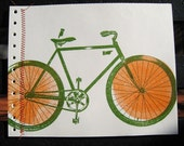 Green and Orange Stitched Bicycle\/Gocco Notebook