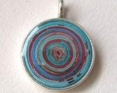 Paper Spiral Pendant in Red and Turquoise
