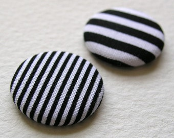 Black and White Stripe Fabric Button Badges