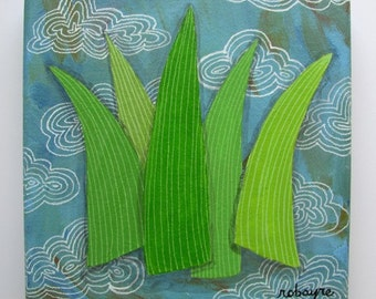 Original painting Blades of Grass No. 6 - clouds green blue