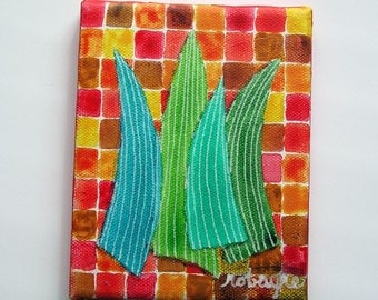 Blades of Grass painting No. 7 - Boxes Red Green