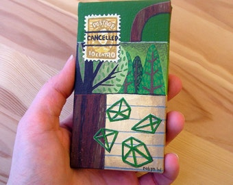 Small Canvas Painting Green Brown Nature Geometric