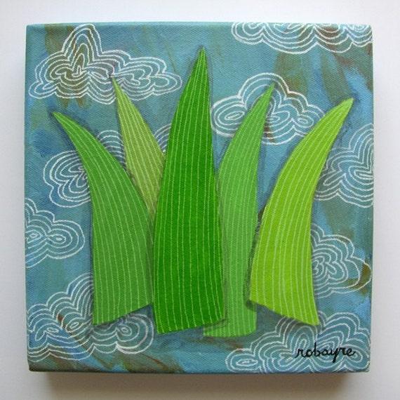 Original painting Blades of Grass No. 6 - clouds green blue