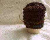 mug cozy - chestnut brown cotton with rainbow wool racing stripes - tea hive