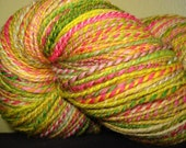 Clown Shoes left foot 2 ply BFL Handspun Laceweight