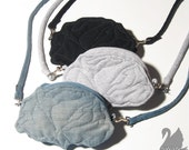 SWANclothing Tiny Rose purse in Quilted Black Denim
