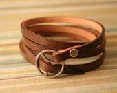 Leather Wrap Bracelet in Brown leather with silver buckle