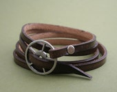 Leather Wrap Bracelet - Brown leather with silver buckle
