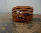 Leather Wrap Bracelet in Natural leather with Small Copper buckle