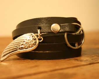 Leather Wrap Bracelet - Black leather with silver buckle and Angel Wing