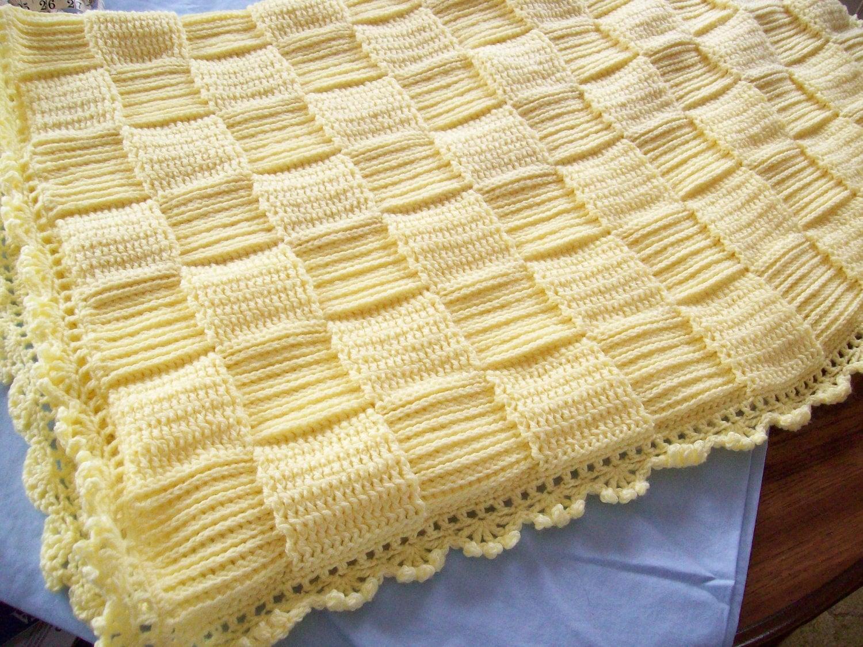 Crochet Baby Blanket Basket Weave Pattern : Hand Crocheted Yellow Basket Weave Baby Blanket FREE SHIPPING