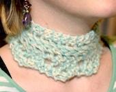 SALE-----Azure kid-mohair lace scarflette necklace