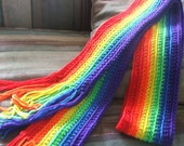 Handmade rainbow striped scarf