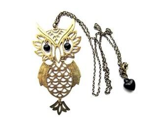 Owl Necklace Vintage Inspired Antiqued Brass Dangly Black Heart