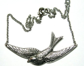 Silver Sparrow Necklace Swallow Bird Flight Bird Large Big Antique 3 inches Flying Chain Swooping Stamping Winged