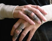 Armor Ring Byzantine Gothic Flourish Filigree and vintage strass ONE ring