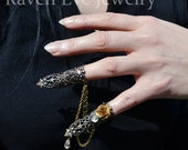 Goblin Queen Fierce Brass Filigree Jeweled Nail Armor Ring Set Double Attached Rings