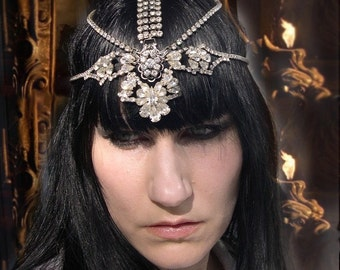 SALE Lily of Legend Dazzling Rhinestone and Chain Head Piece Headdress Ready to Ship was 278.00