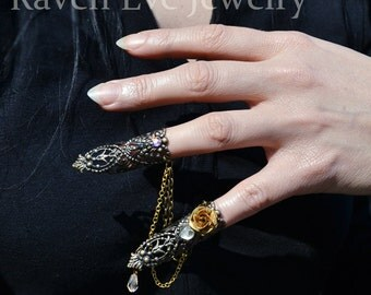 Nail Rings Goblin Queen Fierce Brass Filigree Jeweled Nail Armor Ring Set Double Attached Rings