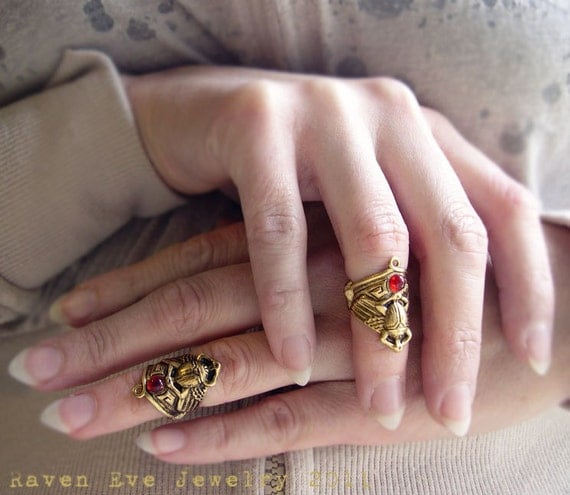 Winged Scarab Armor Knuckle Ring  Neo Egyptian Design with Vintage Glass Ruby Stone TWO rings two piece set