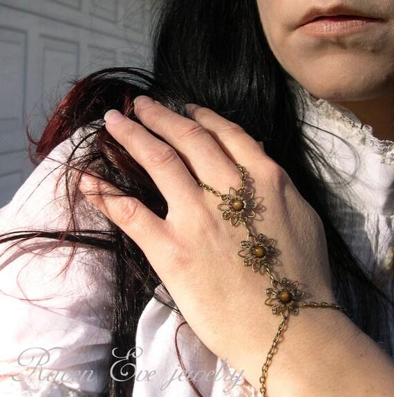 Elder Blossom Gothic Flourish Filigree Hand Flower Slave Bracelet  Hand Jewelry