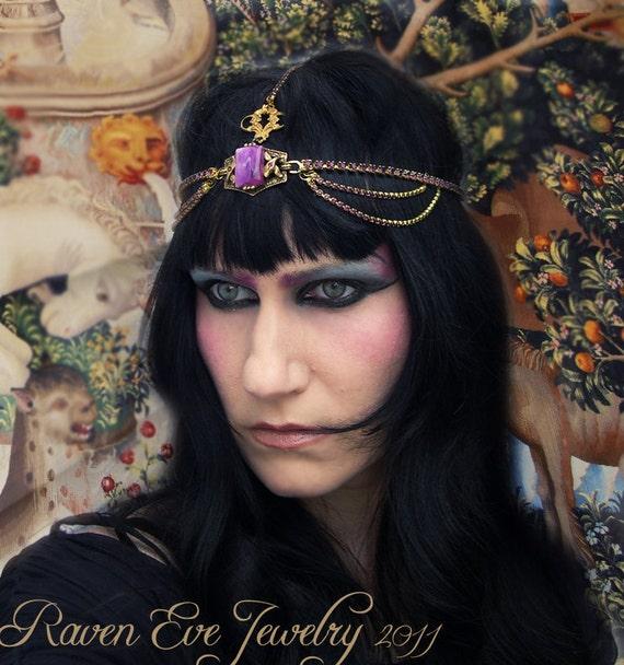 Purple Passion Medieval Renaissance Rhinestone Headdress head piece LAST ONE ready to ship