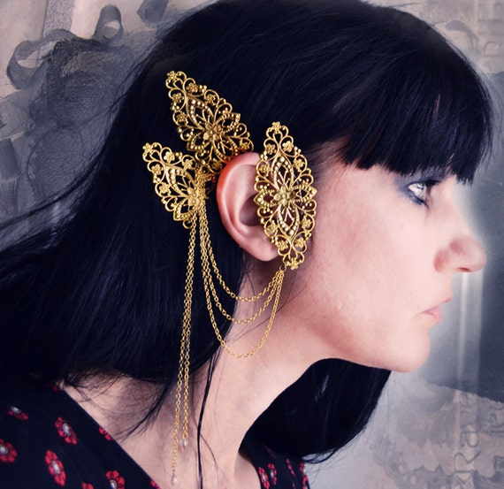 Labyrinth Ear Cuff Ornate Gold Filigree with Chains and Beads
