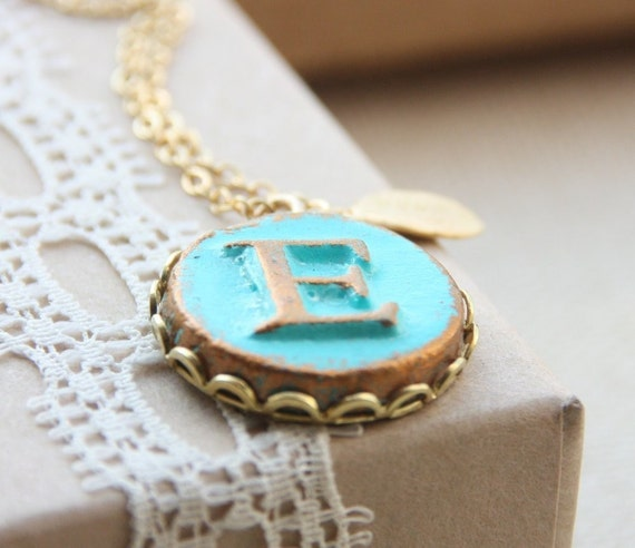 Your Initial necklace - Round Pendant on lace edge setting on gold filled chain - Personalized Custom Letter