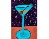 Spiral Night Martini original painting on wood