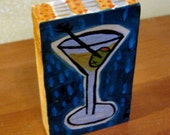 Freestanding two sided painting on wood of Martini and Rose