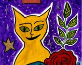 Summer Night Sky Cat painting