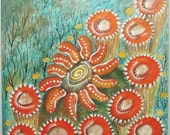 Spiral Dance original mixed media painting on wood
