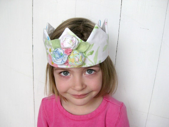 Pretty Fabric Crown for a Little Princess - Upcycled Vintage Fabric with a Rolled Rosette Corsage --- Ready to Ship