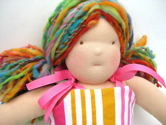 Emily, a 16 Inch Handmade Waldorf Doll - Cloth Doll - Brown Eyes and Rainbow Hair