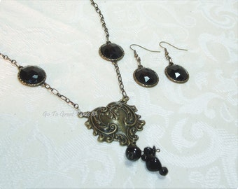 Necklace Set - Antiqued Brass-tone & black Necklace w Hanging Earrings, Dramatic Heart shaped pendant, OOAK Statement Necklace