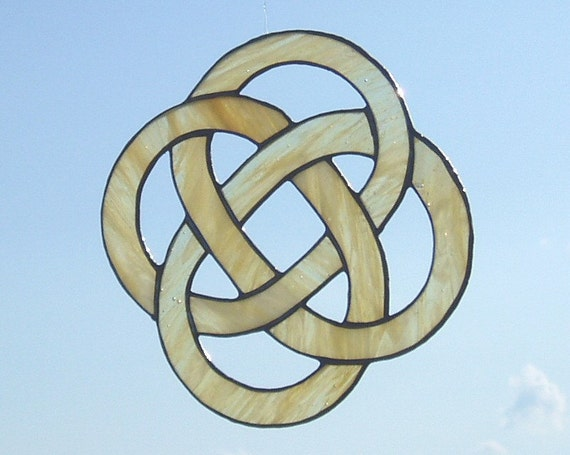 Stained Glass Celtic Knot, Four Loop White/Cream Colored, Irish Knot, Lovely Decor Gift
