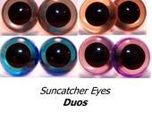 15mm Suncatcher Eyes - 4 pair of Duos, Craft Animal Eyes - Handpainted acrylic craft eyes for dolls, bears, and amigurumi