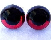 3 Pair of 15mm Red SLEEPY Suncatcher Eyes - Handpainted acrylic craft eyes for dolls, bears, and amigurumi