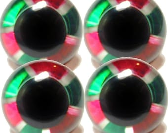 Suncatcher Craft Eyes - 2 pair of Christmas Chrome 15mm handpainted craft eyes