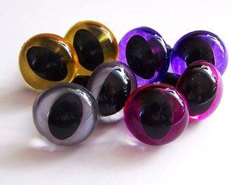 4 Pair of Cat craft eyes in silver, gold, pink, and purple.  You Choose The Size!