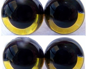 2 Pair 12mm Gold SLEEPY Suncatcher Eyes - Handpainted acrylic craft eyes for dolls, bears, and amigurumi