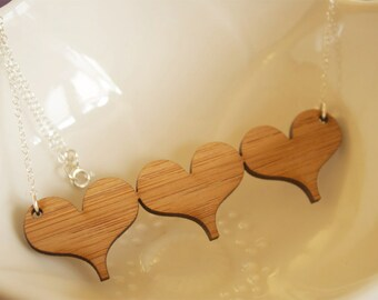 Triple Heart Bamboo Necklace