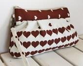 SALE Pleated wristlet -  Vintage brown hearts
